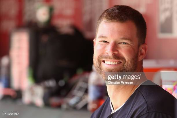 Starting pitcher Corey Kluber of the Cleveland Indians in the dugout during the MLB game against the Arizona Diamondbacks at Chase Field on April 9...