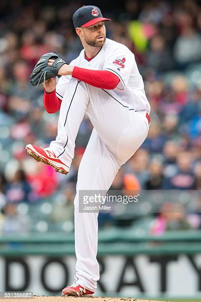 Starting pitcher Corey Kluber of the Cleveland Indians pitches during the first inning against the Minnesota Twins at Progressive Field on May 14...