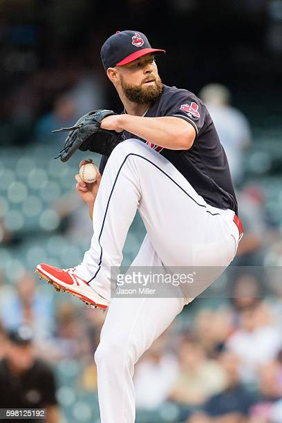 Starting pitcher Corey Kluber of the Cleveland Indians pitches during the first inning against the Minnesota Twins at Progressive Field on August 31...