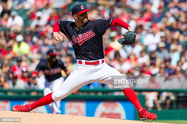 Starting pitcher Corey Kluber of the Cleveland Indians pitches during the first inning against the Minnesota Twins at Progressive Field on June 24...