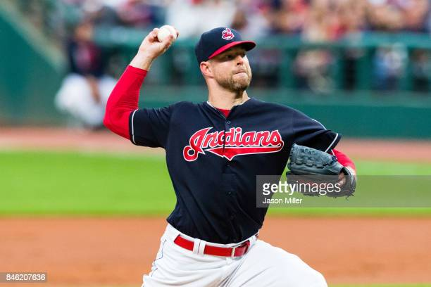 Starting pitcher Corey Kluber of the Cleveland Indians pitches during the first inning against the Detroit Tigers at Progressive Field on September...