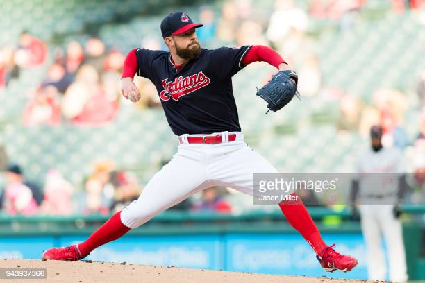 Starting pitcher Corey Kluber of the Cleveland Indians pitches during the first inning against the Detroit Tigers at Progressive Field on April 9...