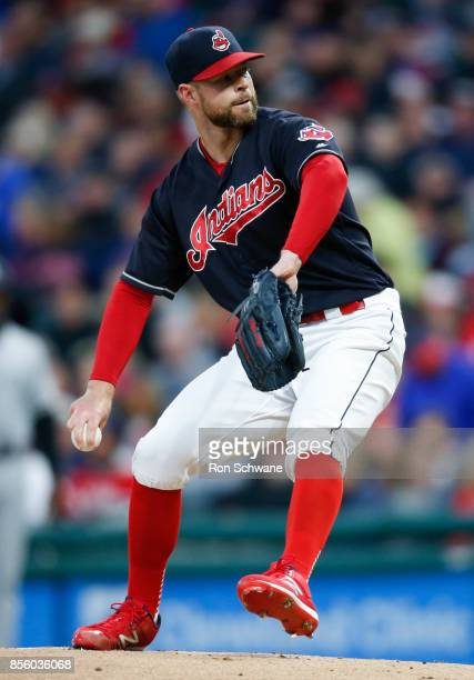 Starting pitcher Corey Kluber of the Cleveland Indians pitches against the Chicago White Sox during the first inning at Progressive Field on...
