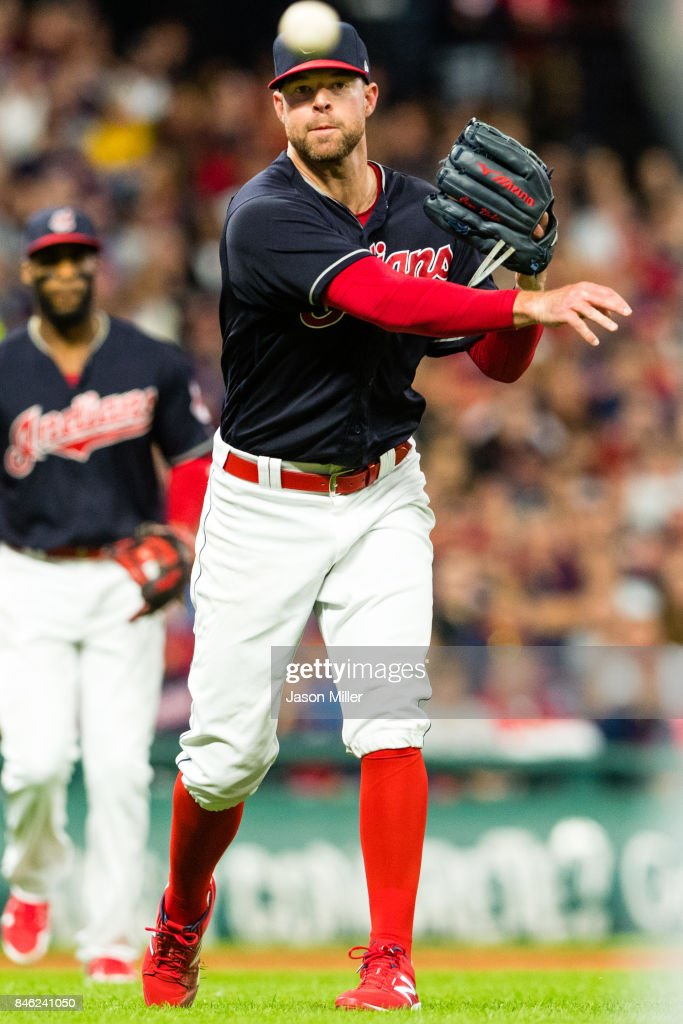 Starting pitcher Corey Kluber #28 of the Cleveland Indians throws out Ian Kinsler #3 of the Detroit Tigers during the sixth inning at Progressive Field on September 12, 2017 in Cleveland, Ohio.