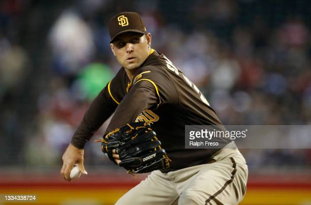 Starting pitcher Craig Stammen of the San Diego Padres throws against the Arizona Diamondbacks during the first inning of the MLB game at Chase Field...