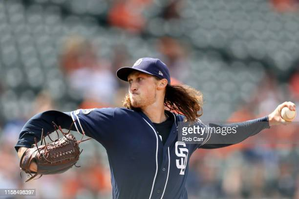 Starting pitcher Craig Stammen of the San Diego Padres throws to a Baltimore Orioles batter in the fifth inning at Oriole Park at Camden Yards on...