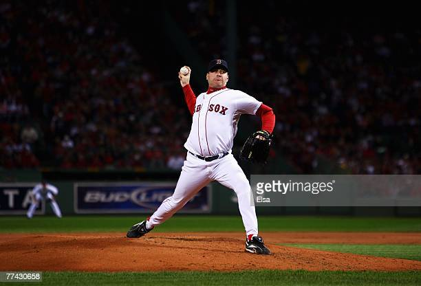 Starting pitcher Curt Schilling of the Boston Red Sox deals against the Cleveland Indians during Game Six of the American League Championship Series...