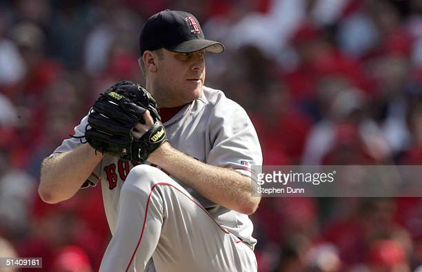 Starting pitcher Curt Schilling of the Boston Red Sox delivers a pitch against the Anaheim Angels during the the American League Division Series Game...