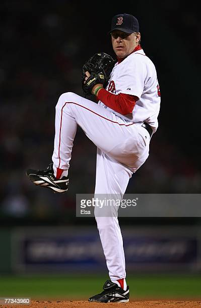 Starting pitcher Curt Schilling of the Boston Red Sox pitches in the first inning of Game Two of the American League Championship Series against the...
