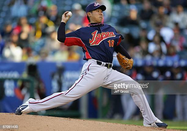 Starting pitcher Daisuke Matsuzaka of Team Japan pitches against Team Mexico during the Round 2 Pool 2 Game of the World Baseball Classic at Angel...