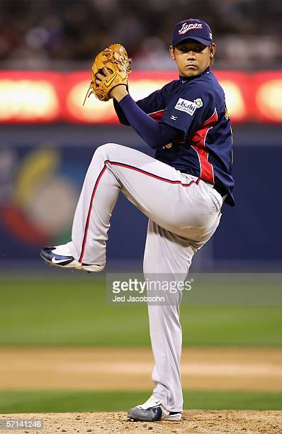 Starting pitcher Daisuke Matsuzaka of Team Japan pitches against Team Cuba during the Final game of the World Baseball Classic at Petco Park on March...