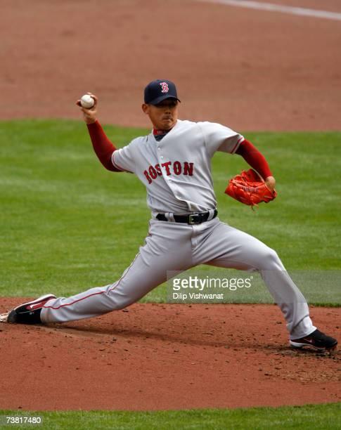 Starting pitcher Daisuke Matsuzaka of the Boston Red Sox throws against the Kansas City Royals on April 5 2007 at Kauffman Stadium in Kansas City...