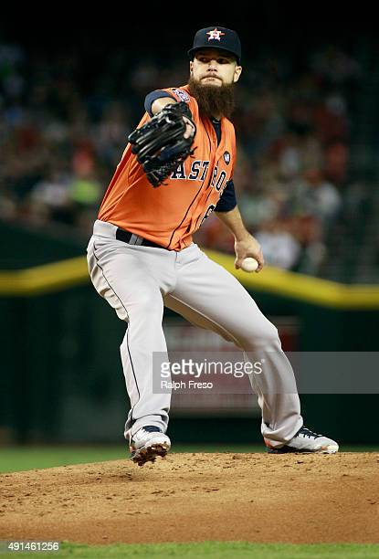 Starting pitcher Dallas Keuchel of the Houston Astros throws against the Arizona Diamondbacks during the first inning of a MLB game at Chase Field on...