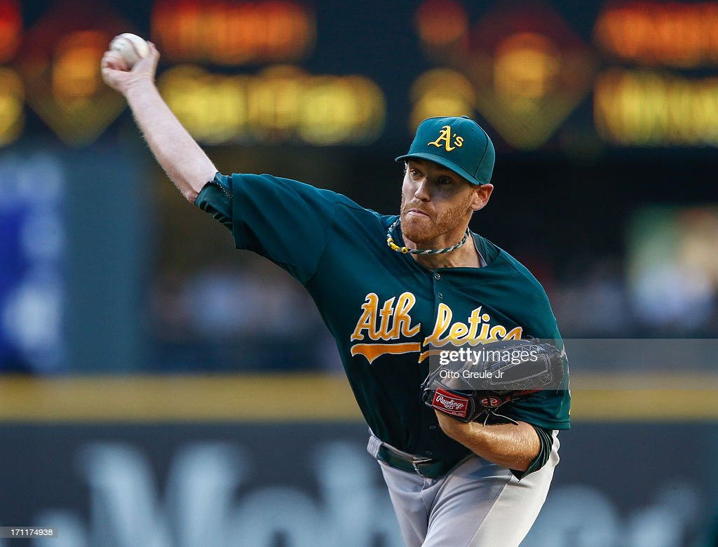 Starting pitcher Dan Straily #67 of the Oakland Athletics pitches against the Seattle Mariners at Safeco Field on June 22, 2013 in Seattle, Washington.