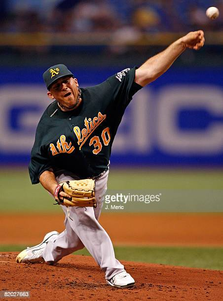Starting pitcher Dana Eveland of the Oakland Athletics pitches against the Tampa Bay Rays during the game at Tropicana Field on July 21, 2008 in St....