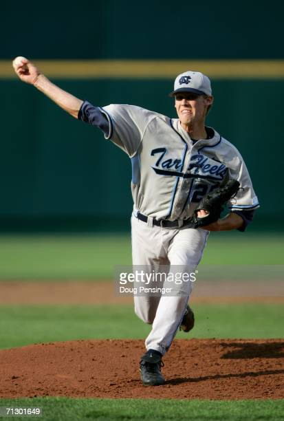 Starting pitcher Daniel Bard of the North Carolina Tar Heels delivers a pitch against the Oregon State Beavers during Game 3 of the NCAA College...