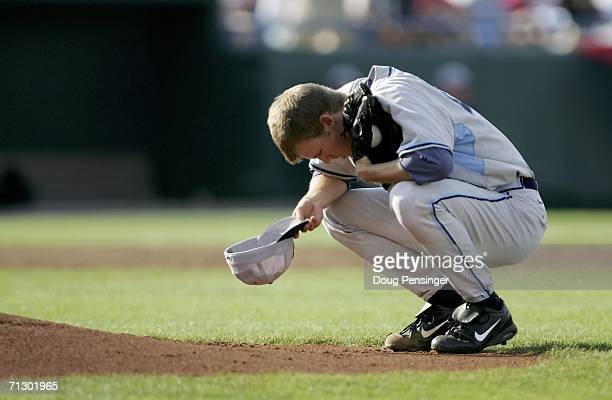 Starting pitcher Daniel Bard of the North Carolina Tar Heels pauses for a moment before the start of the Game 3 against the Oregon State Beavers...