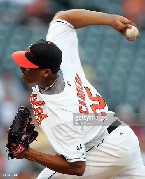 Starting pitcher Daniel Cabrera of the Baltimore Orioles pitches against the Toronto Blue Jays June 5, 2006 at Camden Yards in Baltimore, Maryland.