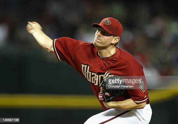 Starting pitcher Daniel Hudson of the Arizona Diamondbacks pitches against the Milwaukee Brewers during the MLB game at Chase Field on May 27 2012 in...