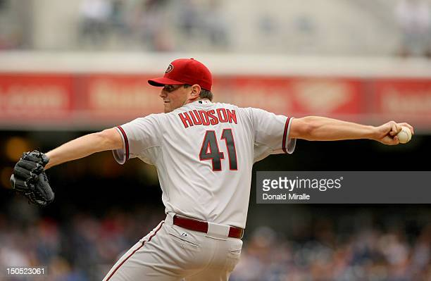 Starting pitcher Daniel Hudson of the Arizona Diamondbacks throws from the mound against the San Diego Padres during their game on June 2 2012 at...