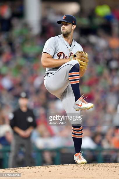 Starting pitcher Daniel Norris of the Detroit Tigers pitches during the first inning against the Cleveland Indians at Progressive Field on September...