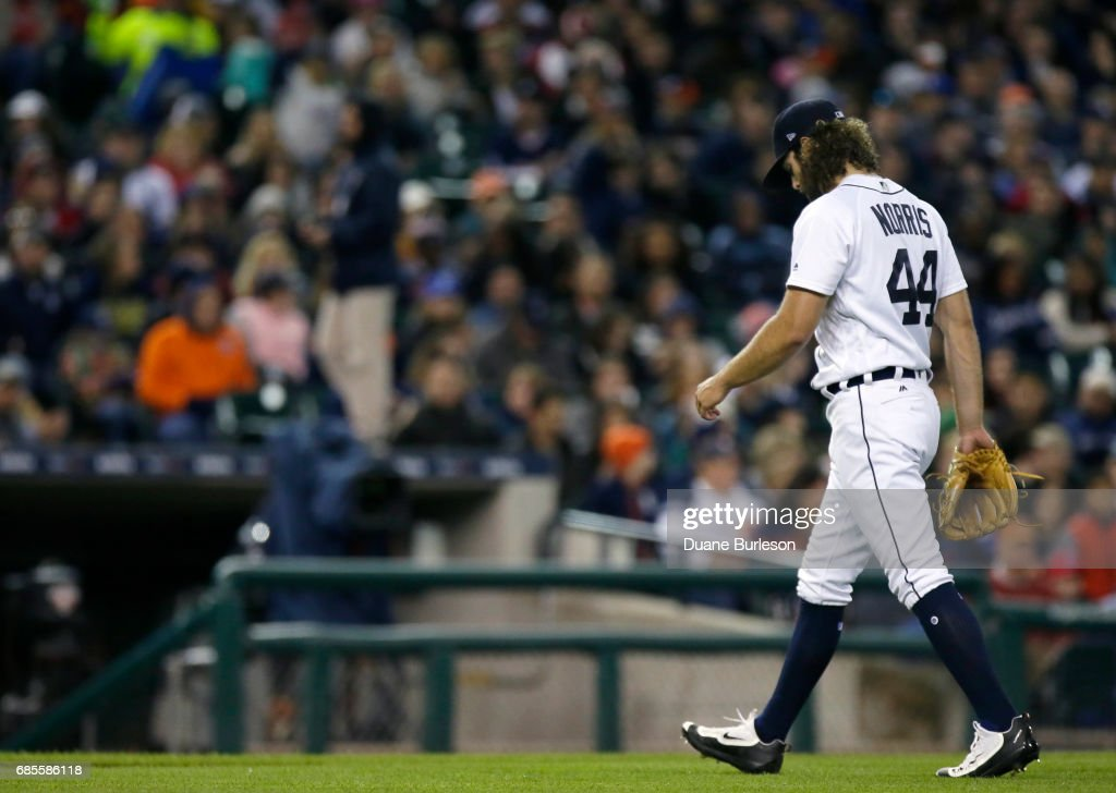 Starting pitcher Daniel Norris #44 of the Detroit Tigers walks off the field after being pulled during the sixth inning of a game against the Texas Rangers at Comerica Park on May 19, 2017 in Detroit, Michigan. The Rangers defeated the Tigers 5-3.