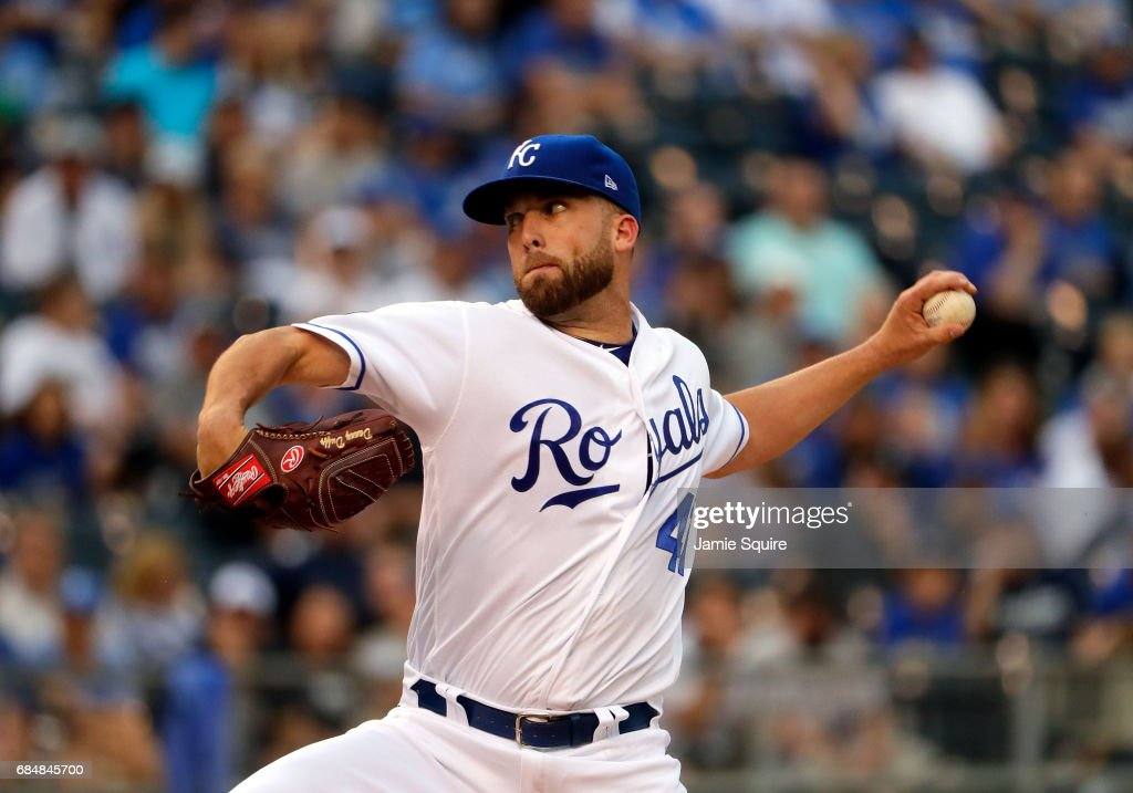 Starting pitcher Danny Duffy #41 of the Kansas City Royals in action during the 1st inning of the game against the New York Yankees at Kauffman Stadium on May 18, 2017 in Kansas City, Missouri.
