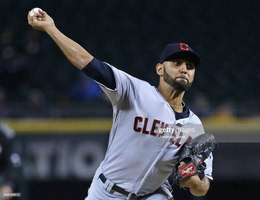 Starting pitcher Danny Salazar #31 of the Cleveland Indians delivers the ball against the Chicago White Sox at Guaranteed Rate Field on September 5, 2017 in Chicago, Illinois.