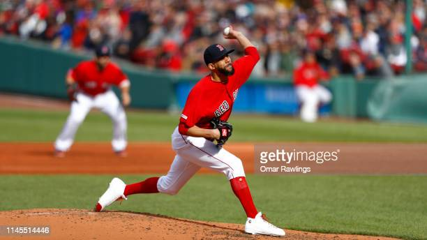 Starting pitcher David Price of the Boston Red Sox pitches at the top of the third inning of the game against the Tampa Bay Rays at Fenway Park on...