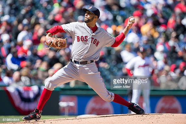 Starting pitcher David Price of the Boston Red Sox pitches during the first inning against the Cleveland Indians the opening day game at Progressive...