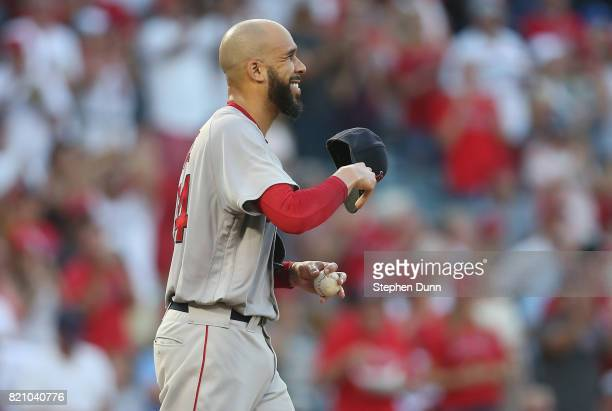 Starting pitcher David Price of the Boston Red Sox reacts after giving up a two run home run to Andrelton Simmons of the Los Angeles Angels of...