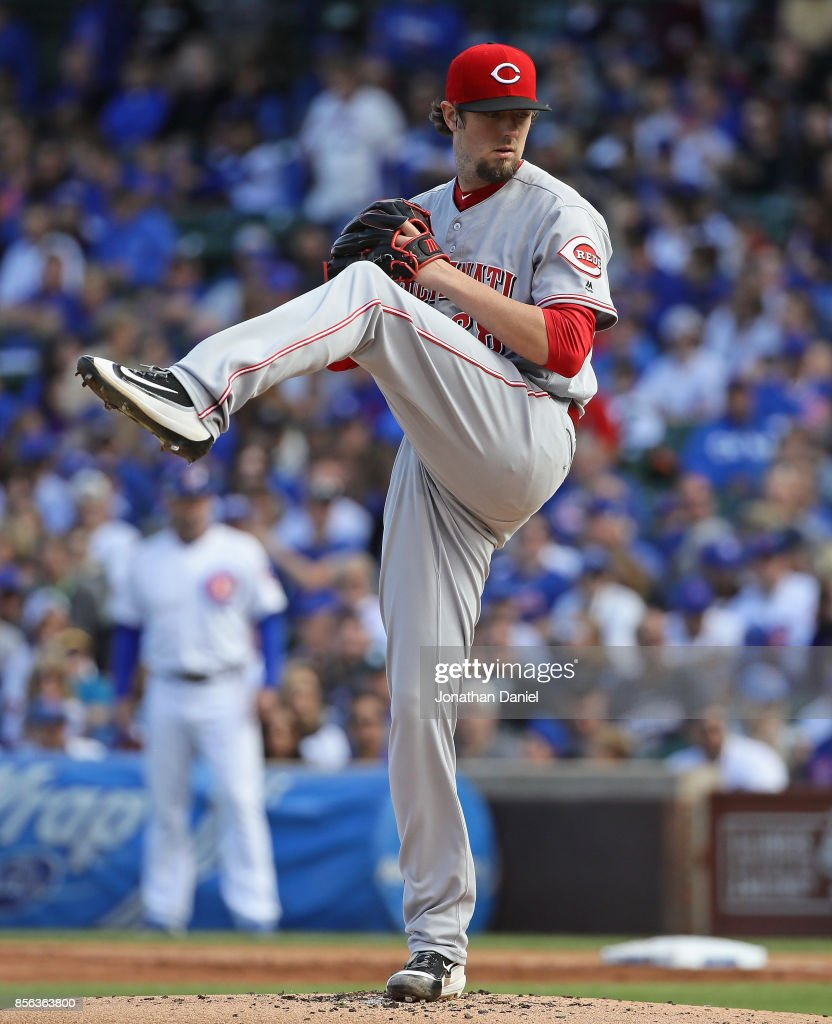 Starting pitcher Deck McGuire #68 of the Cincinnati Reds delivers the ball against the Chicago Cubs at Wrigley Field on October 1, 2017 in Chicago, Illinois.