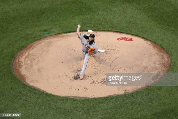 Starting pitcher Dereck Rodriguez of the San Francisco Giants works the first inning against the Washington Nationals at Nationals Park on April 16...