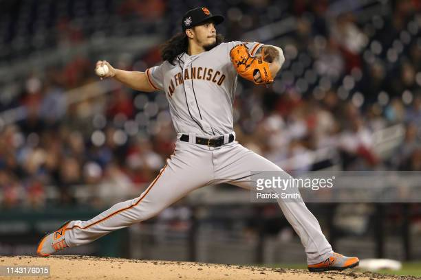 Starting pitcher Dereck Rodriguez of the San Francisco Giants works the foruth inning against the Washington Nationals at Nationals Park on April 16...