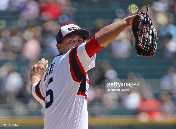 Starting pitcher Derek Holland of the Chicago White Sox delivers the ball against the Kansas City Royals at Guaranteed Rate Field on August 13 2017...