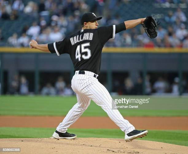 Starting pitcher Derek Holland of the Chicago White Sox delivers the ball against the Minnesota Twins at Guaranteed Rate Field on August 24 2017 in...