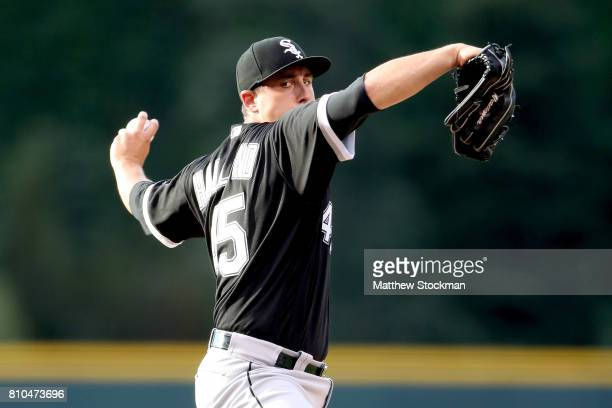 Starting pitcher Derek Holland of the Chicago White Sox pitches in the first inning against the Colorado Rockies at Coors Field on July 7 2017 in...