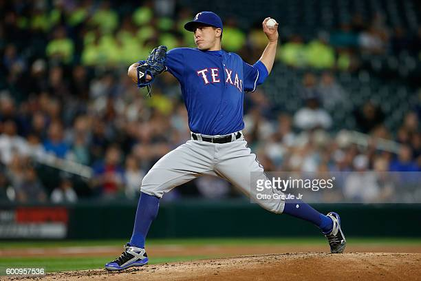 Starting pitcher Derek Holland of the Texas Rangers pitches against the Seattle Mariners in the second inning at Safeco Field on September 8 2016 in...
