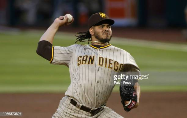 Starting pitcher Dinelson Lamet of the San Diego Padres throws a pitch against the Arizona Diamondbacks during the second inning of the MLB game at...