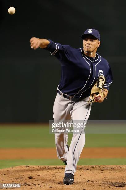 Starting pitcher Dinelson Lamet of the San Diego Padres throws a warm up pitch during the MLB game against the Arizona Diamondbacks at Chase Field on...