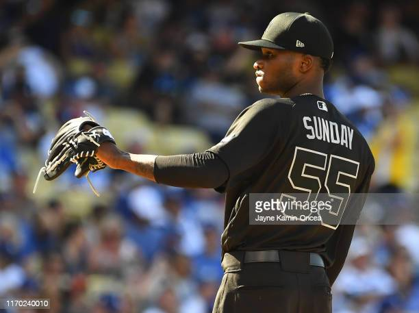 Starting pitcher Domingo German of the New York Yankees takes the mound during the game against the Los Angeles Dodgers at Dodger Stadium on August...