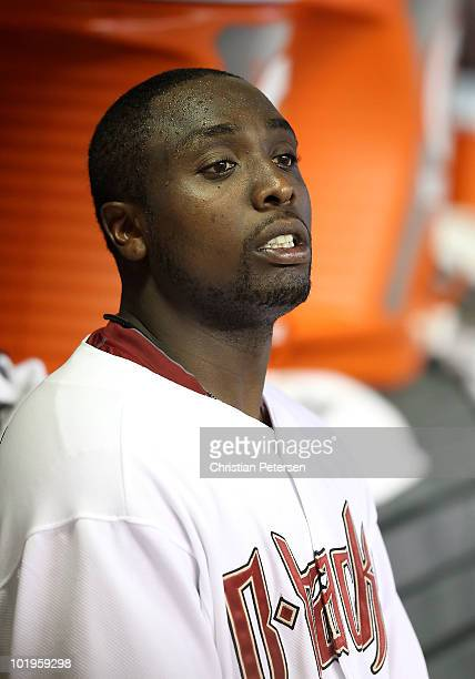 Starting pitcher Dontrelle Willis of the Arizona Diamondbacks watches from the dugout during the Major League Baseball game against the Atlanta...
