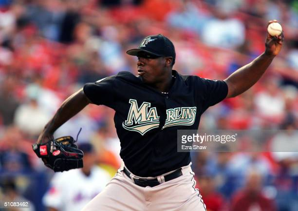 Starting pitcher Dontrelle Willis of the Florida Marlins pitches against the New York Mets on July 19 2004 at Shea Stadium in Flushing New York