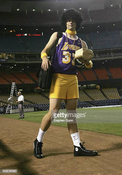 Starting pitcher Dustin Nippert of the Arizona Diamondbacks wears Laker clothes in traditional rookie hazing as he leaves the stadium after the game...