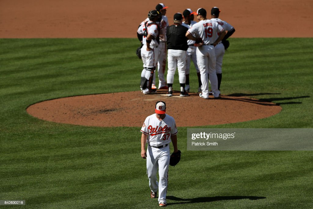 Starting pitcher Dylan Bundy #37 of the Baltimore Orioles is relieved during the fifth inning against the New York Yankees at Oriole Park at Camden Yards on September 4, 2017 in Baltimore, Maryland.