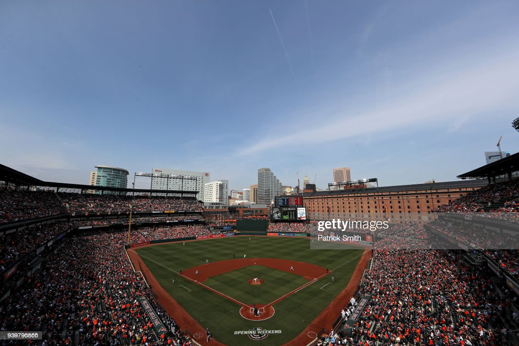 Starting pitcher Dylan Bundy #37 of the Baltimore Orioles throws the first pitch of the game to Brian Dozier #2 of the Minnesota Twins during the first inning in their Opening Day game at Oriole Park at Camden Yards on March 29, 2018 in Baltimore, Maryland.