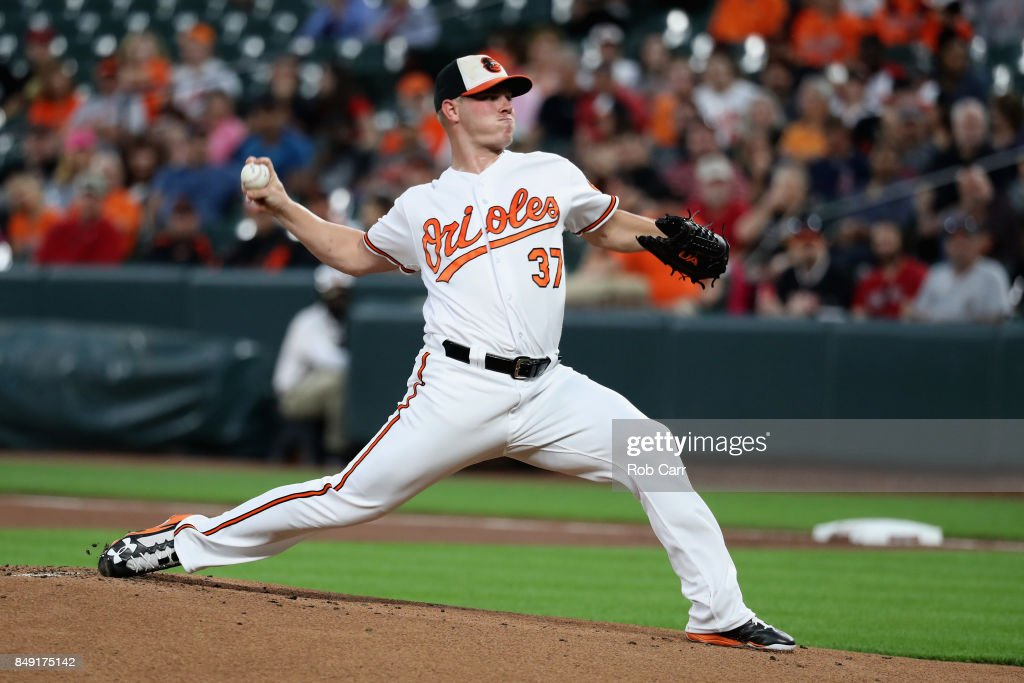 Starting pitcher Dylan Bundy #37 of the Baltimore Orioles throws to a Boston Red Sox batter in the first inning at Oriole Park at Camden Yards on September 18, 2017 in Baltimore, Maryland.