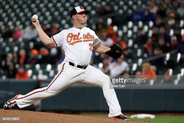 Starting pitcher Dylan Bundy of the Baltimore Orioles throws to a Toronto Blue Jays batter in the first inning at Oriole Park at Camden Yards on...