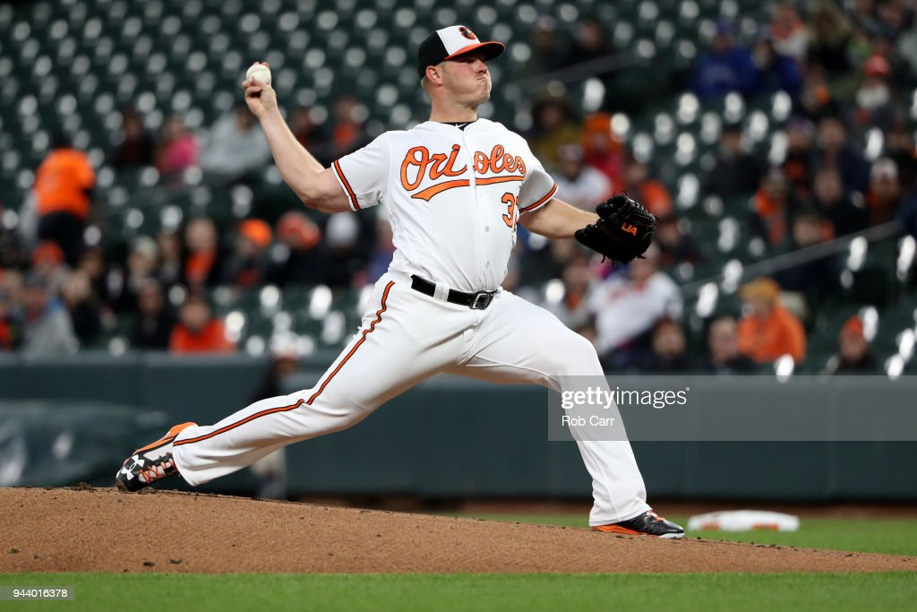 Starting pitcher Dylan Bundy #37 of the Baltimore Orioles throws to a Toronto Blue Jays batter in the first inning at Oriole Park at Camden Yards on April 9, 2018 in Baltimore, Maryland.