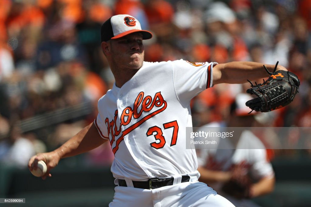 Starting pitcher Dylan Bundy #37 of the Baltimore Orioles works the first inning against the New York Yankees at Oriole Park at Camden Yards on September 4, 2017 in Baltimore, Maryland.